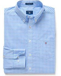 GANT Heren Overhemd Capri Geruit Button-down Poplin Regular Fit - Blauw