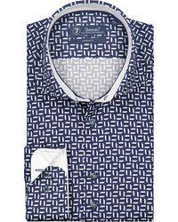 Sleeve7 Overhemd Wit Print Dobby - Blauw