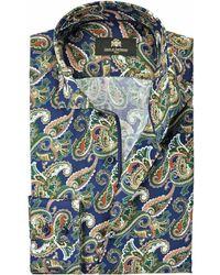 Circle Of Gentlemen Overhemd Chiel Kleuren Paisley Print Slim Fit - Blauw