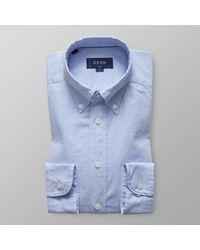Eton of Sweden Heren Overhemd Royal Oxford Licht Button-down Slim Fit - Blauw