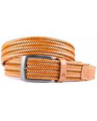 ALBERTO Bronze Elastische Riem Van Hoogwaardig Leer - Oranje