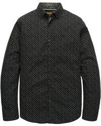 PME LEGEND Psi197201 9139 Long Sleeve Shirt Poplin Print Black Onyx - Zwart