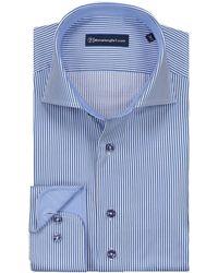 Sleeve7 Heren Overhemd Donker Streep - Blauw