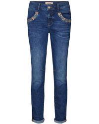 Mos Mosh 131490 575 Mosmosh Naomi Paisly Jeans, Regular, Dark Blue - Blauw
