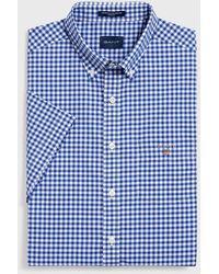 GANT Overhemd Geruit Korte Mouw Button Down Regular Fit - Blauw