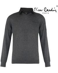 Pierre Cardin Heren V-hals Trui Met Overhemdkraag Donker - Grijs
