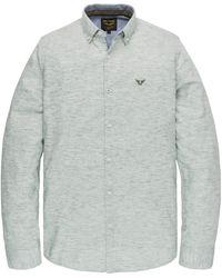 PME LEGEND Psi201226 6149 Long Sleeve Shirt Yarn Dyed Stripe Deep Lichen Green - Groen
