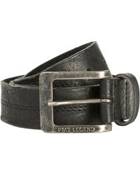 PME LEGEND Belt Leather Center Stich Black - Zwart