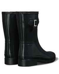 HUNTER Regenlaars Women Original Refined Short Gloss Black-schoenmaat 39 - Zwart