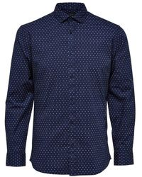SELECTED Selected Freddie-camp Shirt - Blauw
