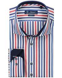 Sleeve7 Heren Overhemd Streep Rood Blauw - Wit