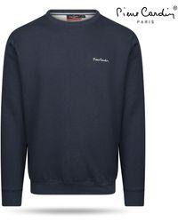 Pierre Cardin Heren Sweater Ronde Hals Navy - Grijs