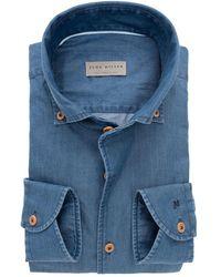 John Miller Heren Overhemd Denim Button-down Ml7 Tailored Fit - Blauw