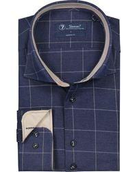 Sleeve7 Overhemd Witte Ruit Flannel Modern Fit - Blauw