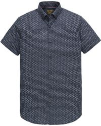 PME LEGEND Psis202249 5287 Short Sleeve Shirt Poplin All-over Print Dark Sapphire - Blauw