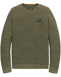 PME LEGEND Pkw198300 6149 Crewneck Cotton Mouline Deep Lichen Green - Groen