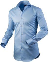 Circle Of Gentlemen Heren Overhemd Asher Licht Cutaway Stretch Slim Fit - Blauw
