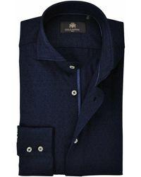 Circle Of Gentlemen Overhemd Stippen Pique Cutaway Slim Fit - Blauw