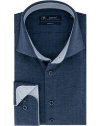 Sleeve7 Heren Overhemd Herringbone Modern Fit - Blauw