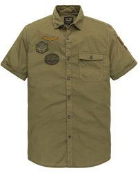 PME LEGEND Psis202263 6408 Short Sleeve Shirt Cotton Slub Fabric With Badges Nutria - Groen