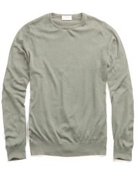John Smedley - John Smedley Hatfield Cotton Crewneck Sweater In Green - Lyst