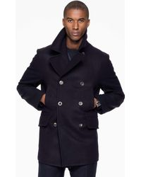 Todd Synder X Champion Todd Snyder + Private White Manchester Wool Pea Coat In Navy - Blue