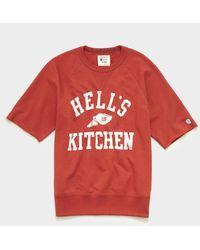 Todd Synder X Champion Hell's Kitchen Cut Off Short Sleeve Sweatshirt - Red