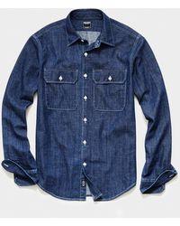Todd Synder X Champion Italian Two Pocket Utility Long Sleeve Shirt - Blue