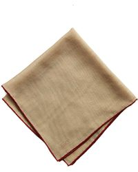 Drake's Beige Solid Wool And Silk Pocket Square With Shoestring Border - Natural