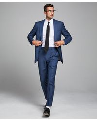 Todd Synder X Champion Sutton Suit Jacket In Italian Natural Stretch Petrol Blue Wool
