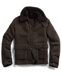 Todd Snyder - Shearling Flight Jacket In Brown - Lyst