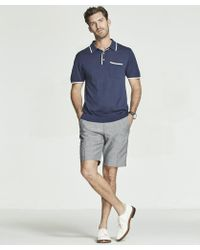 Todd Snyder - Italian Silk/cotton Tipped Knit Polo In Navy - Lyst