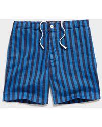 "Todd Synder X Champion 7"" Italian Striped Bahama Short In Blue"