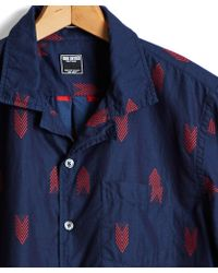Todd Snyder - Short Sleeve Indigo Fil-coupe Jacquard Shirt - Lyst