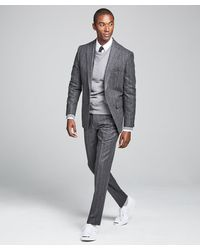 Todd Synder X Champion Wool Chalk Stripe Sutton Suit In Charcoal - Gray