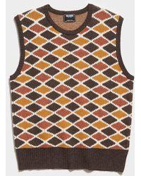 Todd Synder X Champion Argyle Sweater Vest - Brown