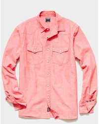 Todd Synder X Champion Japanese Chambray Western Shirt - Red