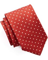 Drake's - Printed Silk Dot Tie In Coral - Lyst