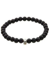 Jan Leslie - Matt Tigers Eye Bracelet With Sterling Silver Skull - Lyst
