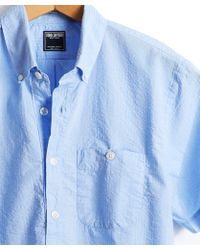 Todd Snyder - Short Sleeve Seersucker Popover Shirt In Light Blue - Lyst