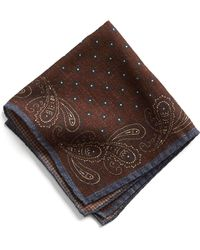 Todd Snyder - Italian Wool Burgundy Paisley Pocket Square - Lyst