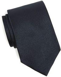 Drake's Solid Silk Tie In Navy - Blue