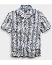 Todd Synder X Champion Leopard Print Camp Collar Short Sleeve Shirt - Blue