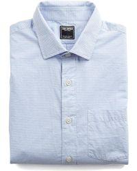 Todd Snyder - Fine Horizontal Stripe Spread Collar Shirt In Light Blue - Lyst