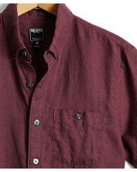 Todd Snyder - Short Sleeve Linen Shirt In Maroon - Lyst