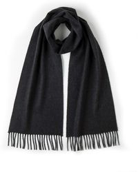 Johnstons - Solid Cashmere Scarf In Charcoal - Lyst