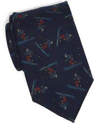 Drake's Wool Navy Skiers Tie - Blue