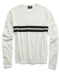 Todd Snyder - Double Stripe Silk-cotton Crewneck Sweater In Black Surf Stripe - Lyst