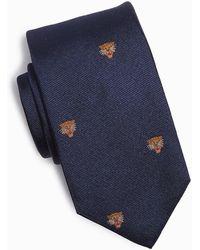 Drake's Tiger Head Motif Silk Tie In Navy - Blue