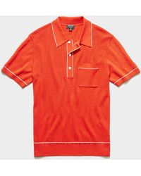 Todd Synder X Champion Italian Cotton Silk Tipped Ribbed Polo Jumper - Red